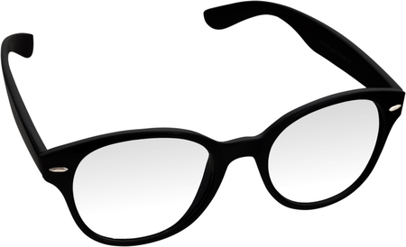 Single eyeglasses isolated on white background