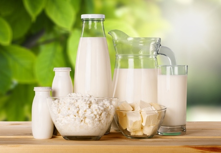 Photo pour Glass of milk  and Dairy products on  background - image libre de droit