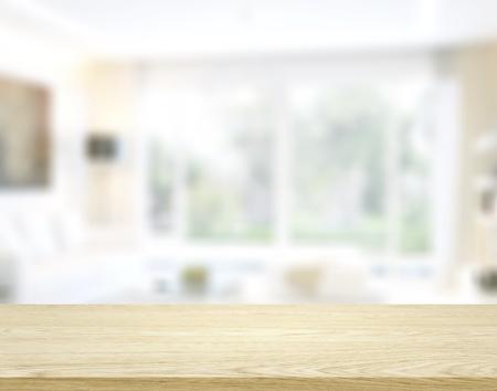 Photo pour Wooden worktop on blur background - image libre de droit