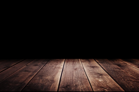 Photo pour Wood table in the dark background. - image libre de droit