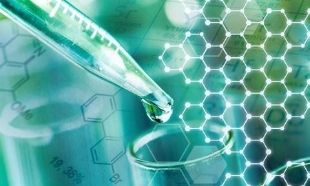 Photo pour Science laboratory test tube and pipet with drop, laboratory equipment closeup - image libre de droit