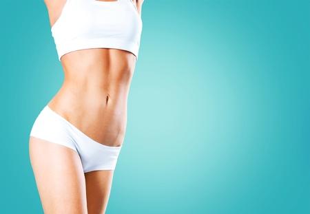 Photo pour Health and beauty - woman in cotton underwear showing slimming concept - image libre de droit