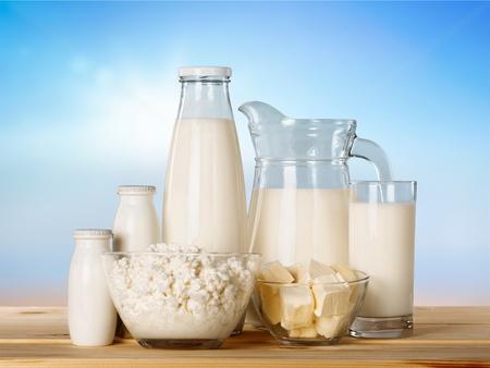 Photo pour Dairy products on wooden table - image libre de droit