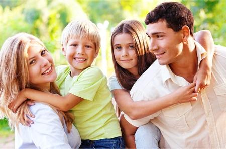 Foto für Beautiful smiling Lovely family on background - Lizenzfreies Bild