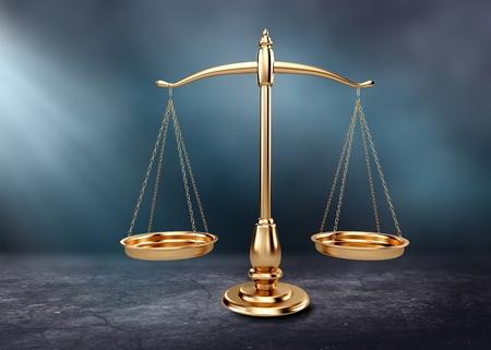 Photo pour Law scales on table background. Symbol of justice - image libre de droit