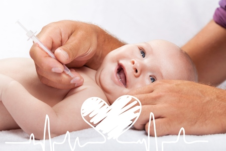 Photo pour Doctor vaccinating baby isolated on a white background - image libre de droit