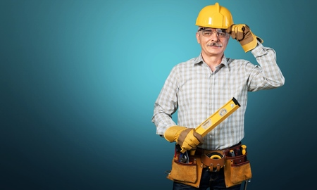 Photo for Male worker with tool belt isolated on - Royalty Free Image