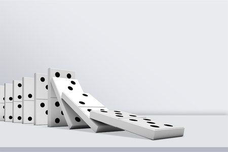 Photo for Falling White Dominos - Royalty Free Image