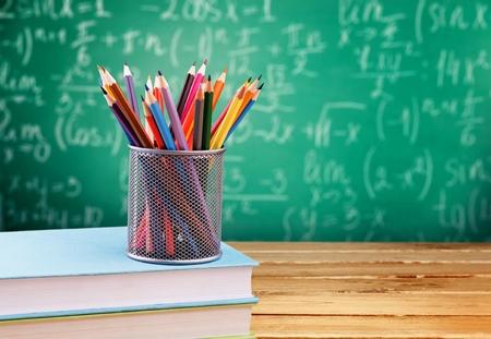 Photo pour Maths formulas written by  chalk on the blackboard background. - image libre de droit