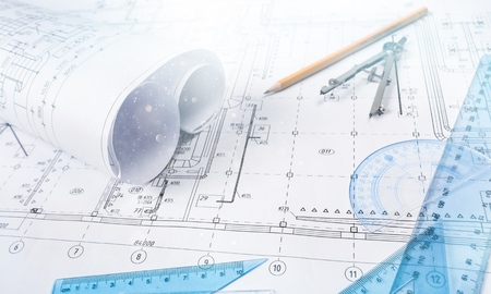 Photo for Industrial drawing detail and several drawing tools on desk - Royalty Free Image