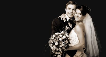 Photo for Bride and groom dancing on background - Royalty Free Image