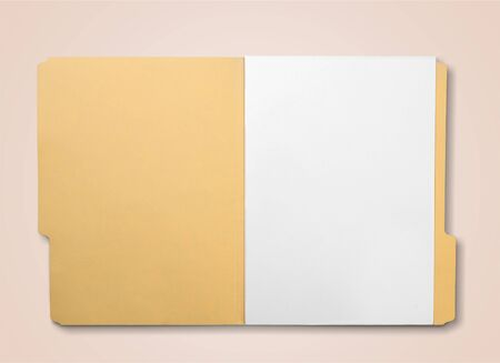 Photo for Brown Envelope document with paper on white - Royalty Free Image