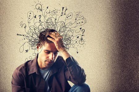 Foto de Adhd stress anxiety adult hard man mess - Imagen libre de derechos