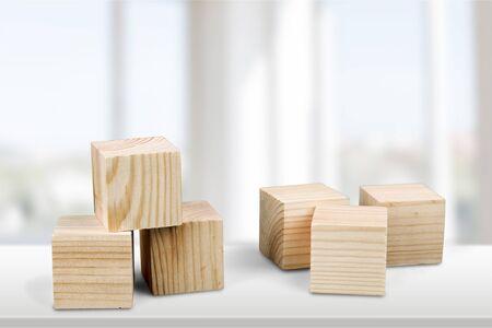 Photo pour Wooden cubes on table background - image libre de droit