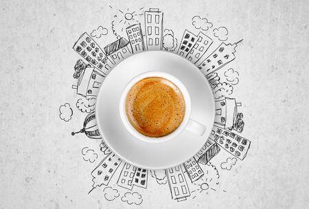 Photo pour Cup od hot coffe on doodles background - image libre de droit