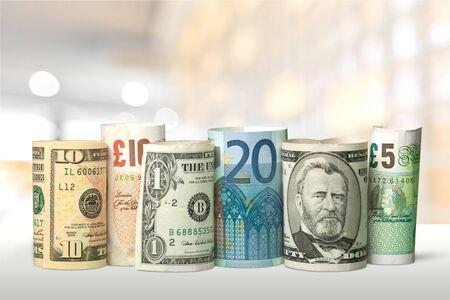 Photo pour US Dollars and Euro Money on background - image libre de droit