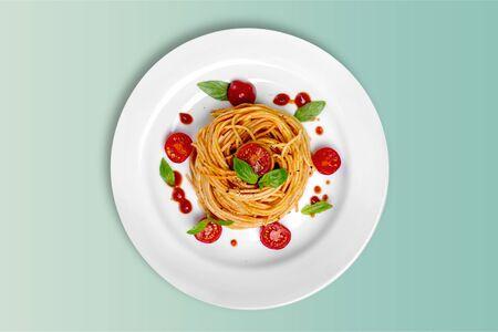 Foto für Delicious pasta on white plate on  background - Lizenzfreies Bild