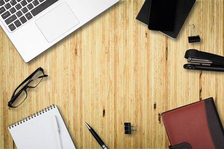 Foto de Top view workspace mockup on white background - Imagen libre de derechos