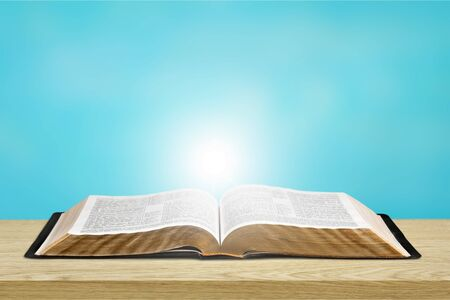 Photo for Opened Holy bible book on table - Royalty Free Image