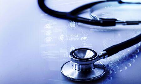 Medical stethoscope on bright background