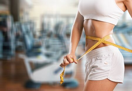 Photo for Weight loss slim slimming tape flat thin - Royalty Free Image