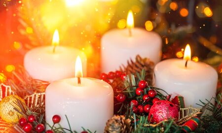 Photo for Candles light. Christmas candles burning at night. Abstract candles background. Golden light of candles flame. - Royalty Free Image