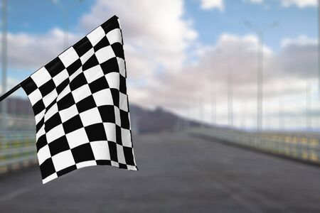 Foto de Checkered waving flag on city background. Concept - Imagen libre de derechos