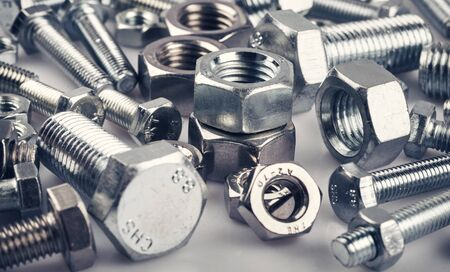 Photo pour Bolts nuts screw washer zinc heap chrome - image libre de droit