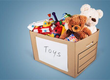 Foto für Toys collection in box isolated on white background - Lizenzfreies Bild