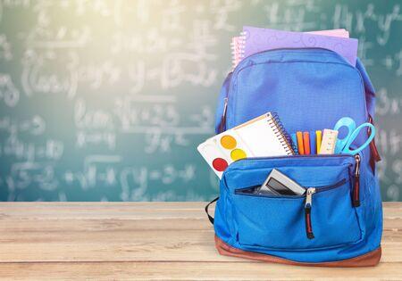 Photo pour Blue  School Backpack on background. - image libre de droit