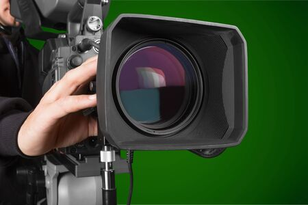 Photo for Cameraman working with camera   isolated - Royalty Free Image