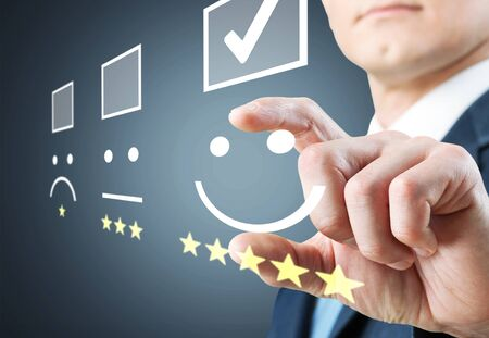 Photo pour Employee face feedback satisfaction survey background best - image libre de droit