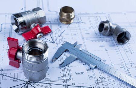 Foto de Hand Tools on Blueprint - Imagen libre de derechos