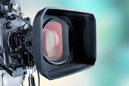 Photo pour Close-up of a television camera lens on blurred background, bokeh - image libre de droit