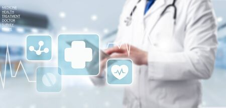 Photo pour Medicine doctor and stethoscope using tablet with icon medical network connection on virtual screen interface in hospital background. Modern medical technology concept. - image libre de droit