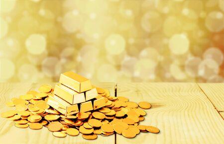 Photo pour Gold bars and coins on backgrouund - image libre de droit
