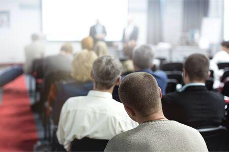 Foto de People on the Conference. Back View. Horizontal Image - Imagen libre de derechos