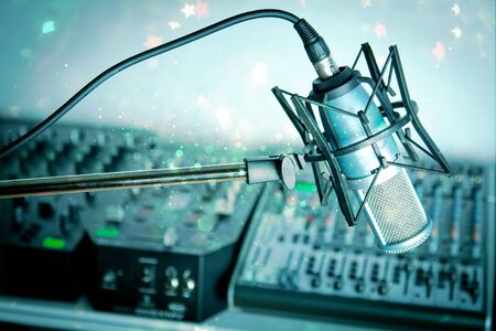 Photo for Microphone in   digital studio   on background - Royalty Free Image