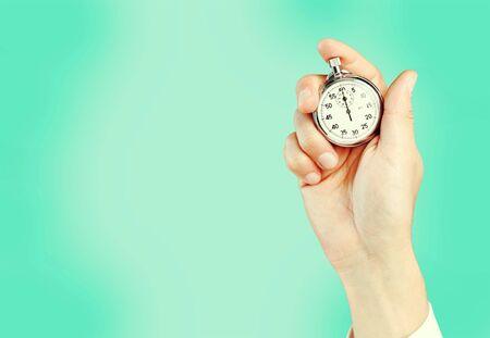 Photo pour Stopwatch in Human Hand, Timer - image libre de droit