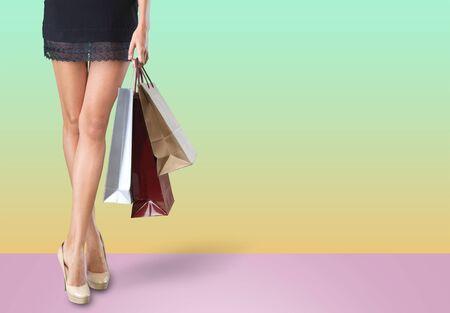 Photo pour Skirt shoes women accessory background bag beautiful - image libre de droit