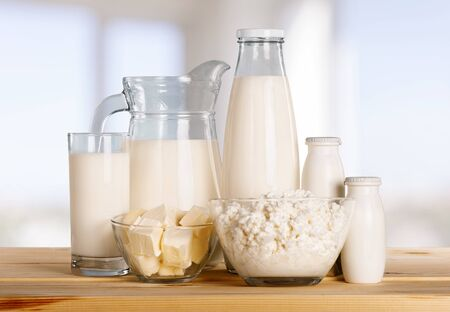 Photo pour Glass of milk and Dairy products on - image libre de droit