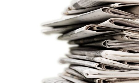 Photo for Pile of newspapers on white background - Royalty Free Image