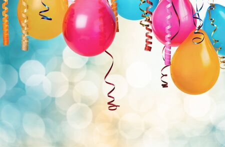 Photo for Bunch of colorful balloons on bokeh background - Royalty Free Image