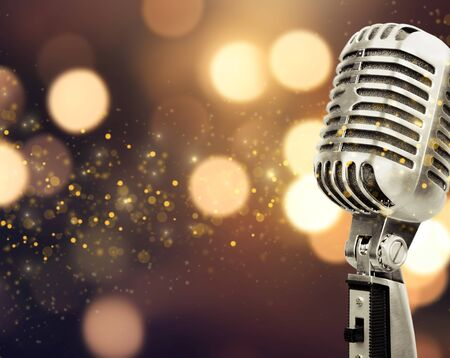 Photo for Retro style microphone on blurred background - Royalty Free Image