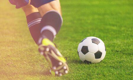 Photo pour Soccer ball on the field of football - image libre de droit