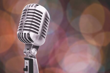 Photo pour Retro style microphone on bokeh background, music recording. - image libre de droit
