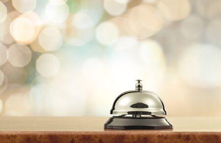 Foto de Vintage hotel reception service desk bell. - Imagen libre de derechos