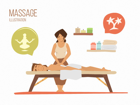 Illustration for Man on a vacation. Spa massage wellness salon illustration. - Royalty Free Image