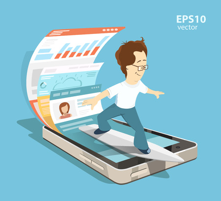 Ilustración de Young programmer software engineer. Mobile app application with ui and ux design development concept. Creative color illustration. - Imagen libre de derechos