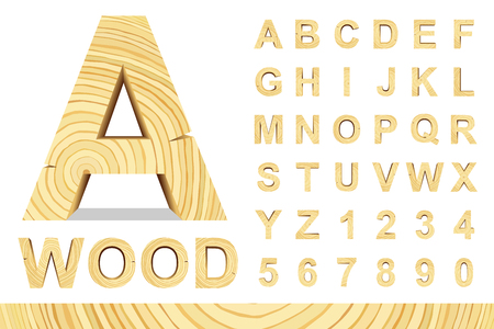 Ilustración de Wooden alphabet blocks with letters and numbers, vector set with all letters, for your text message, title or design. Isolated over white. - Imagen libre de derechos